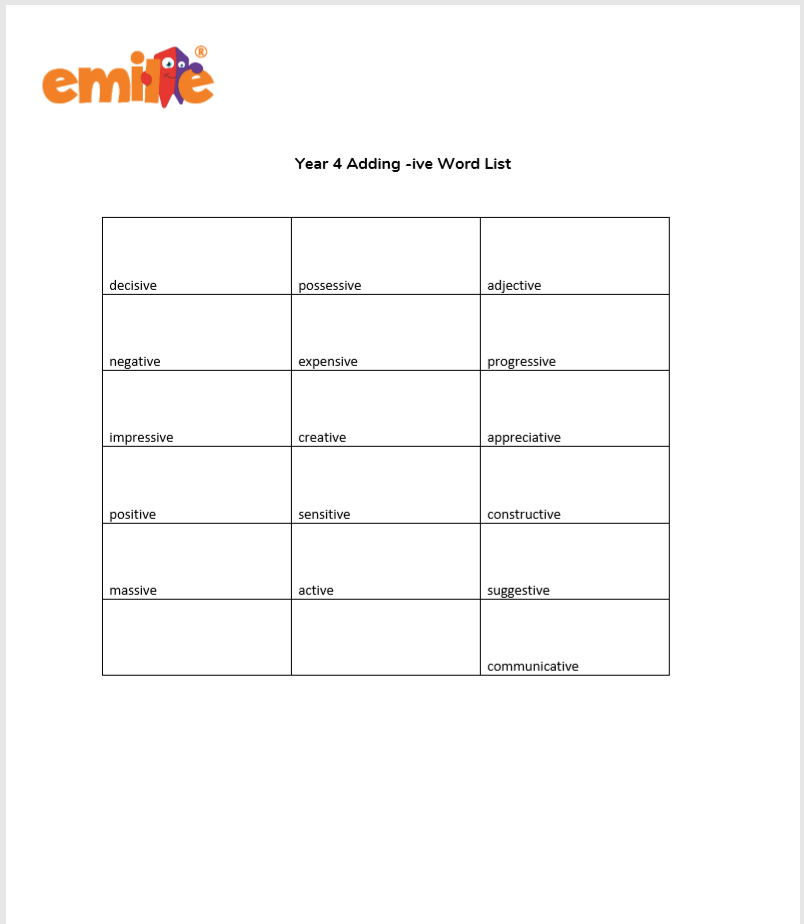 Year 4 adding -ive Word List