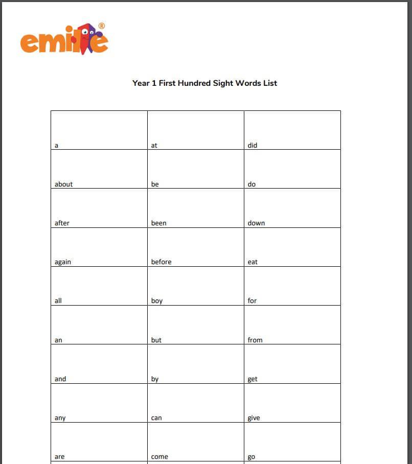 Y1 First 100 sight word list