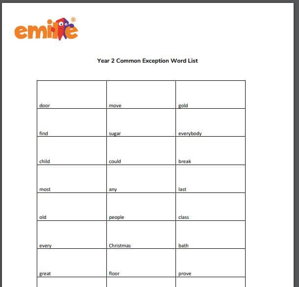 Y2 Common Exception word list
