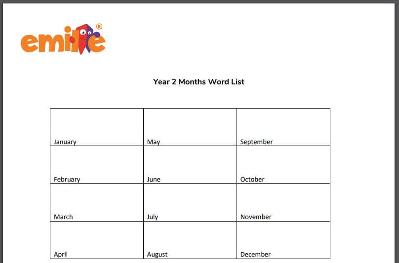 Y2 Months of the year word list