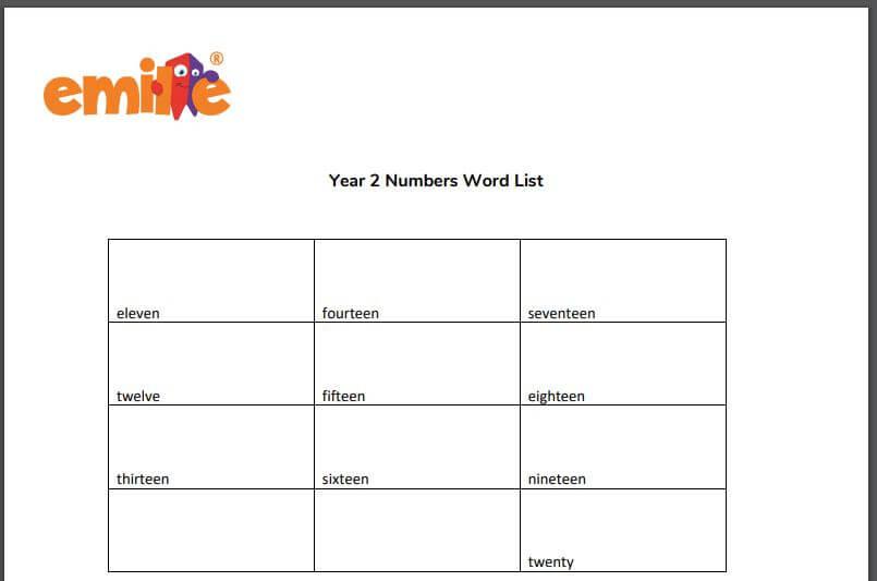 Y2 Number word list