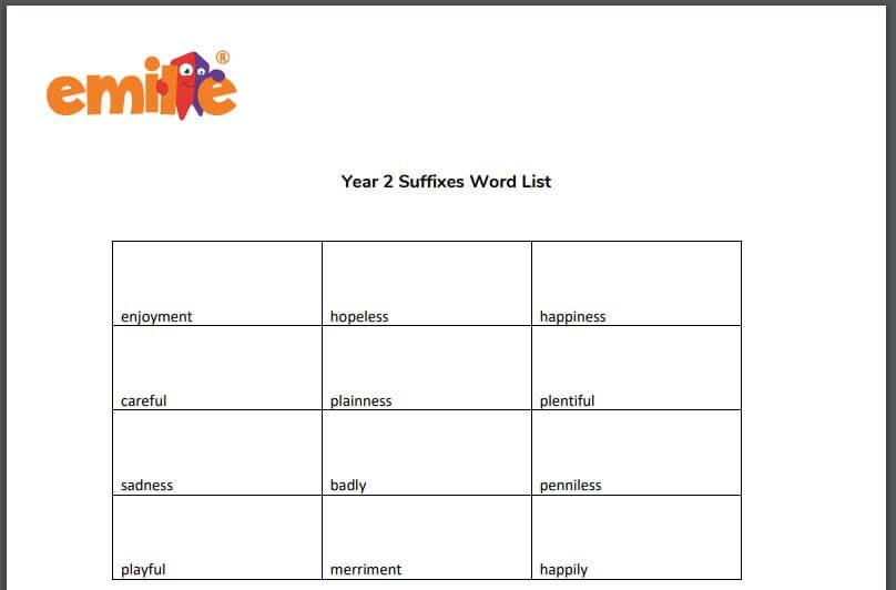 Y2 Suffix word list